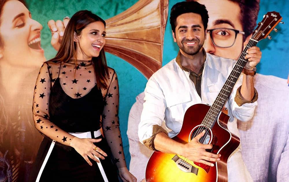 Ayushmann Khurrana and Parineeti Chopra during the Song launch