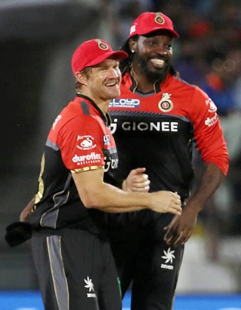 Shane Watson and Chris Gayle celebrate the wicket of  Suresh Raina