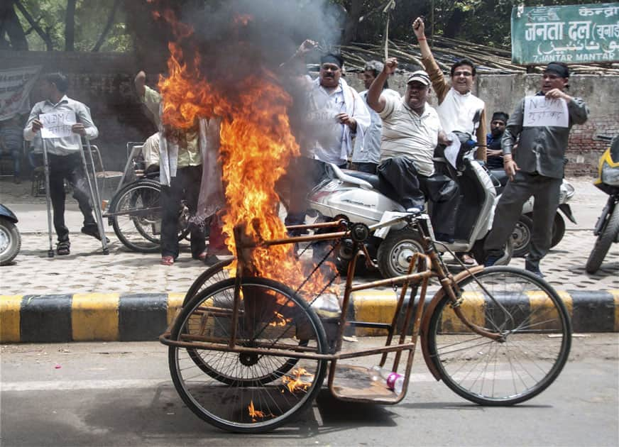 Differently abled people protest in Delhi