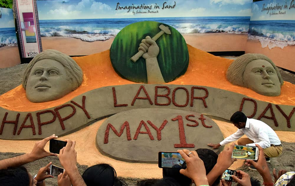 Sand art on Labour Day