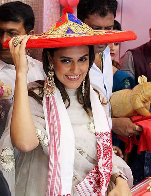 Bollywood actress Neha Dhupia at Pathsala in Assam