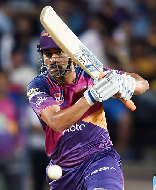 M.S.Dhoni plays a shot during the IPL T20 match