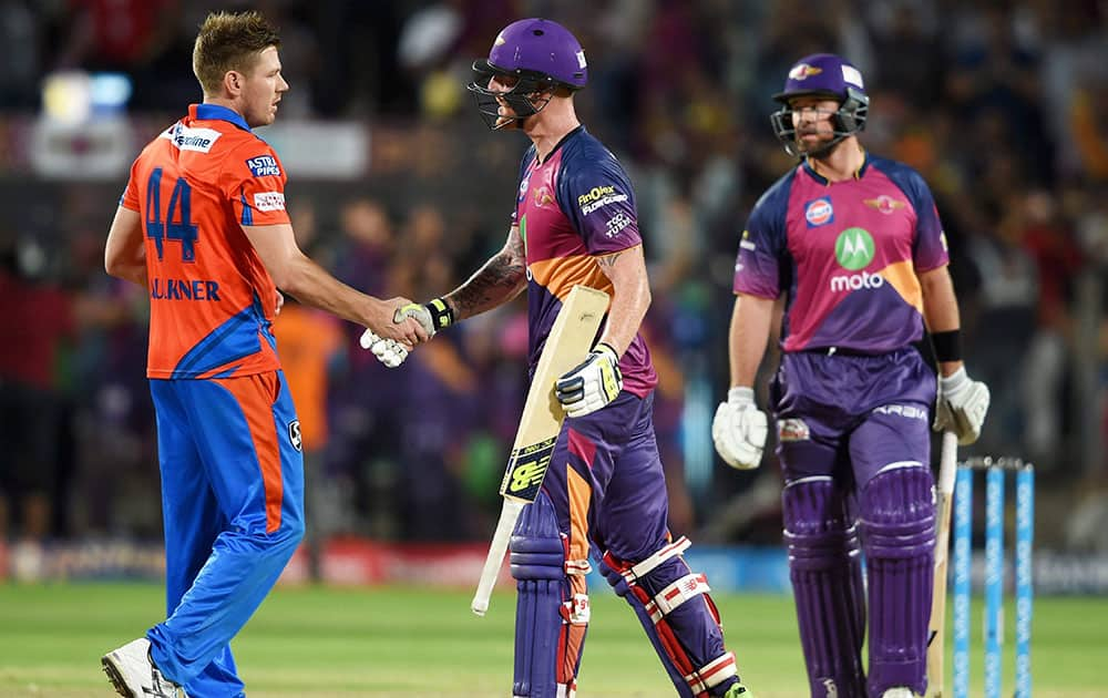 Rising Pune Supergiants players celebrate victory during the IPL T20 match