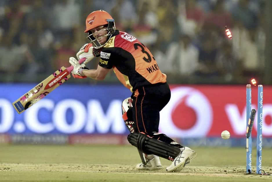 David Warner is bowled out