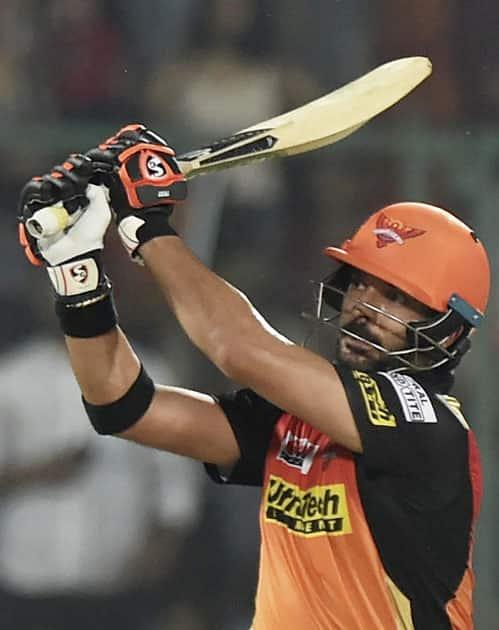 batsman Yuvraj Singh plays a shot
