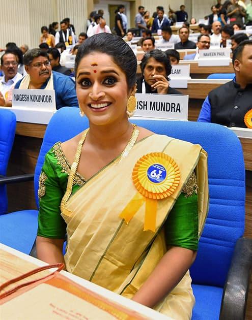 Best actress award winner Surabhi Jyoti at the 64th National Film Awards function