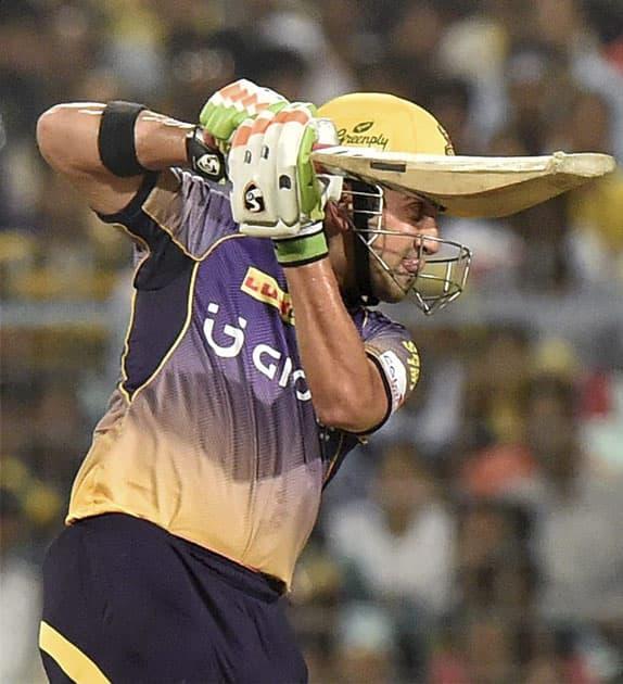 Captain Gautam Gambhir plays a shot