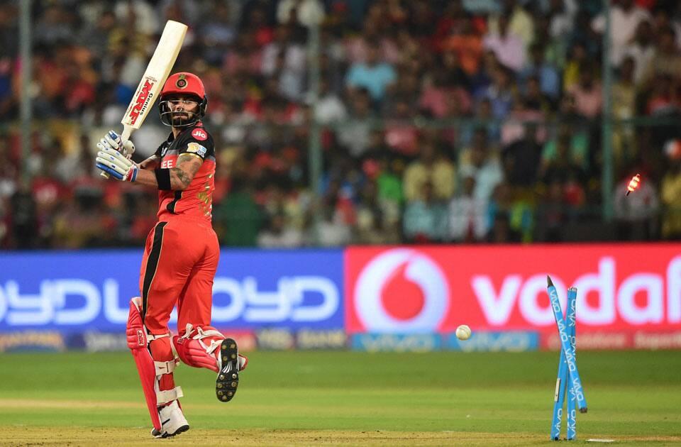 Bangalore Skipper Virat Kohli looks on after his dismissal
