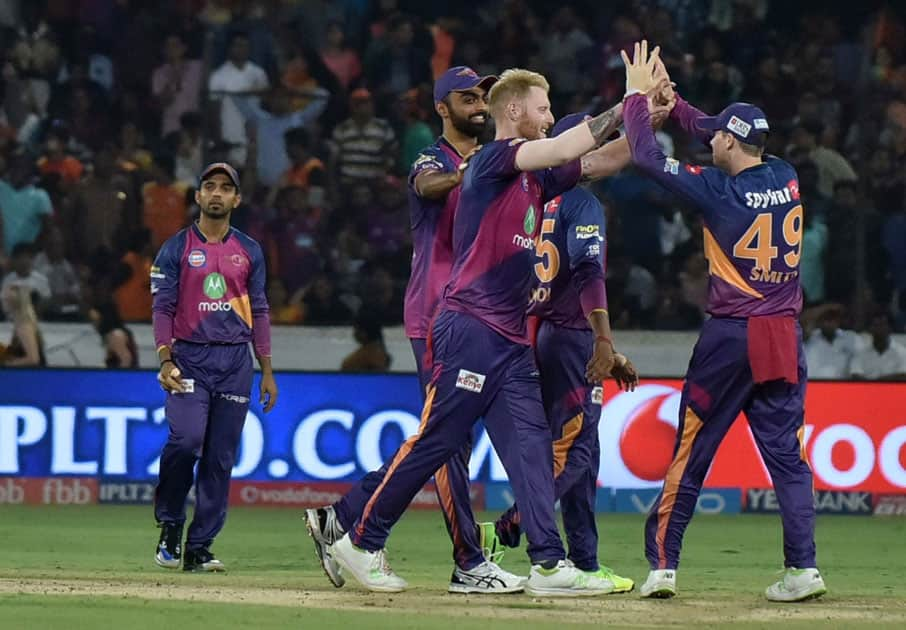 Ben Stokes of RPS celebrates fall of a wicket