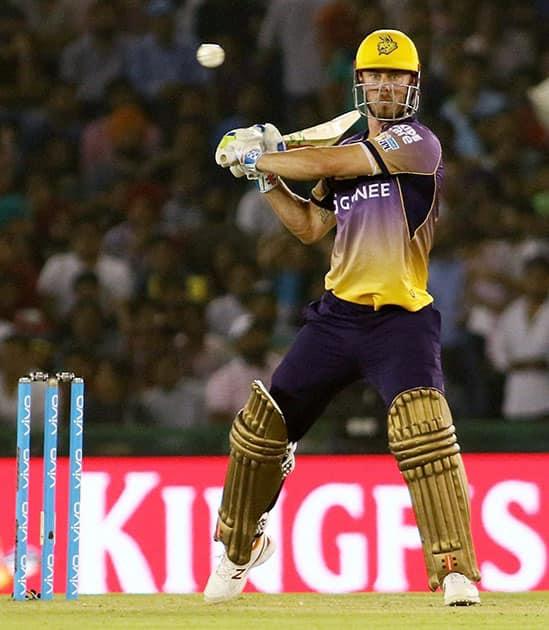 Chris Lynn of KNR plays a shot during an IPL match against Kings XI Punjab in Mohali