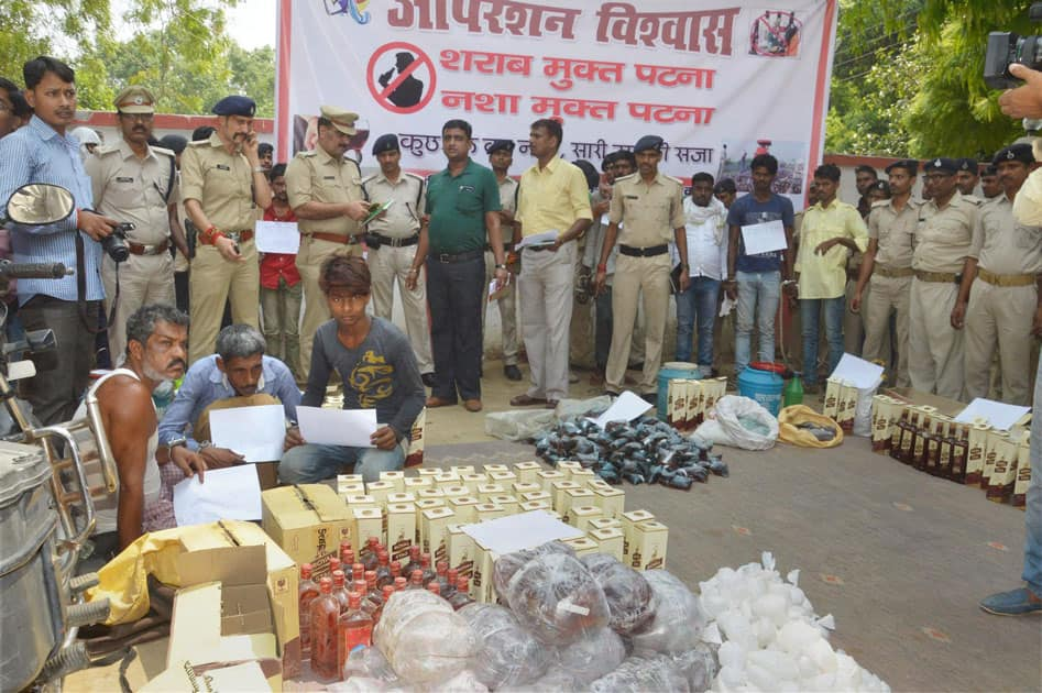 Police seizeliquor and narcotics in Patna