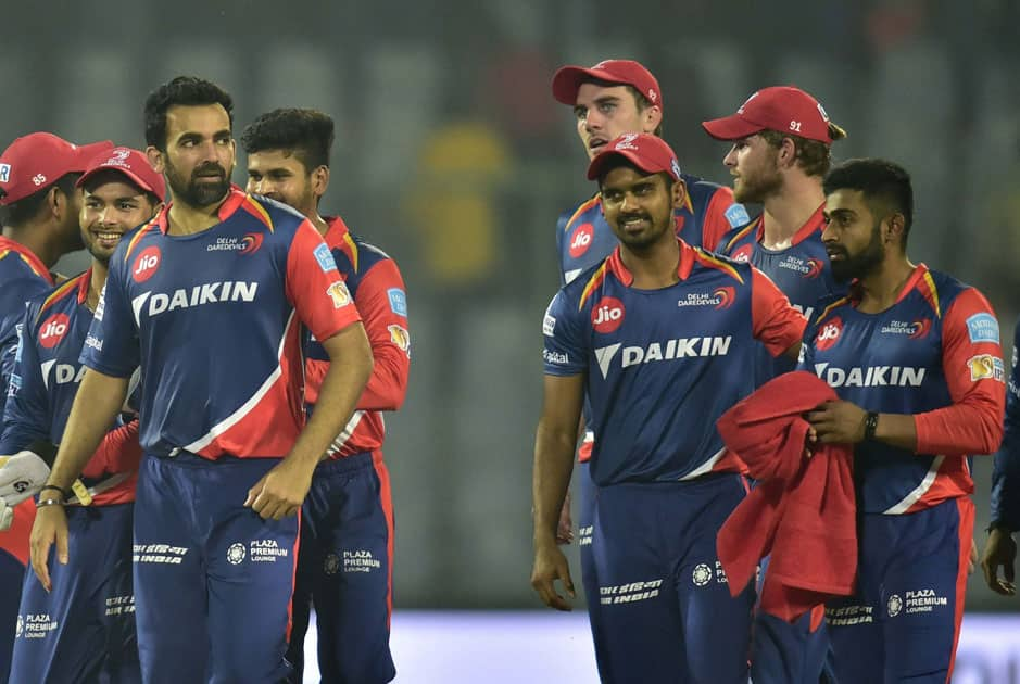 Delhi Daredevils cricketers celebrate their win