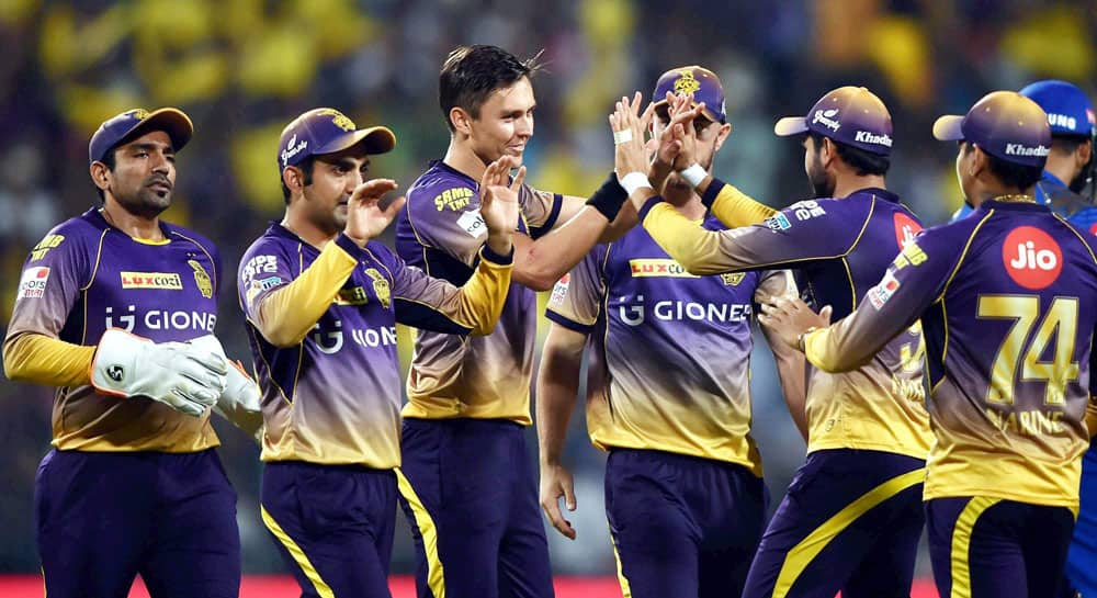 KKR bowler Trent Boult being greeted by his teammates