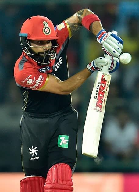 Virat Kohli plays a shot during an IPL match