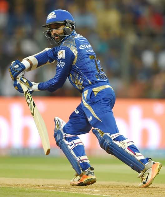 Mumbai Indians batsman Parthiv Patel plays a shot