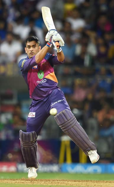 Rising Pune Supergiants batsman M.S.Dhoni plays a shot