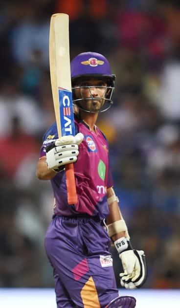 Ajinkya Rahane celebrates his half century