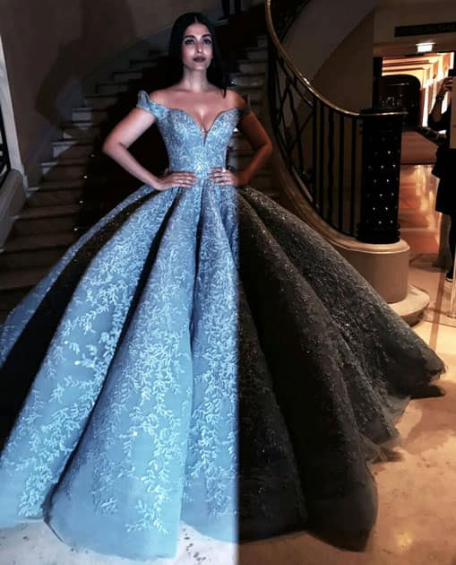 AishwaryaRaiBachchan steals the spotlight in a stunning #MichealCinco gown and #Ferragamo shoes