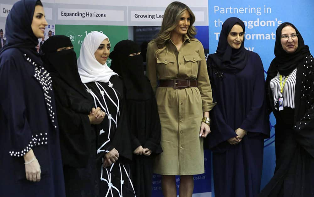 Melania Trump with Saudi women on a visit to an all-womens business services center