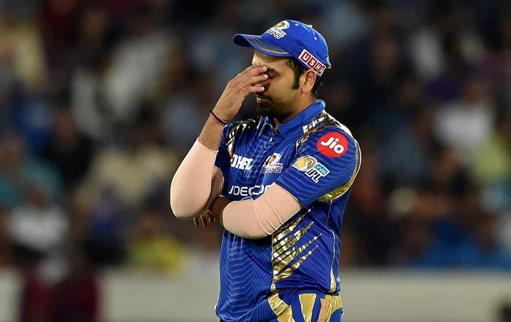 Rohit Sharma reacts after a missfielding during the IPL 10 Final match