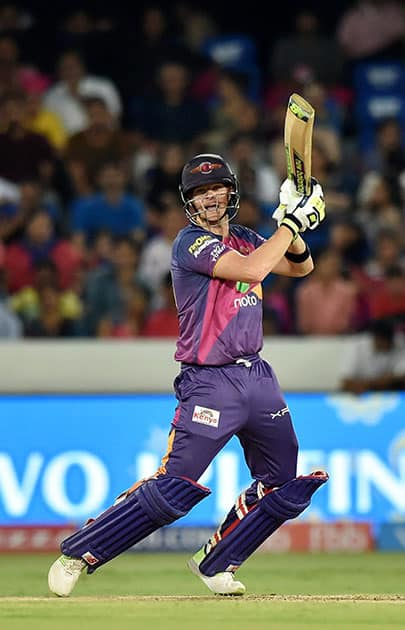 Steve Smith plays a shot during the IPL 10 Final match