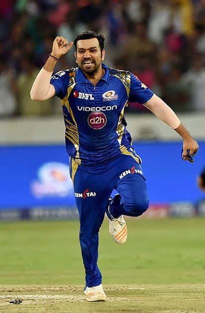 Rohit Sharma exults after winning the IPL 10 Final match