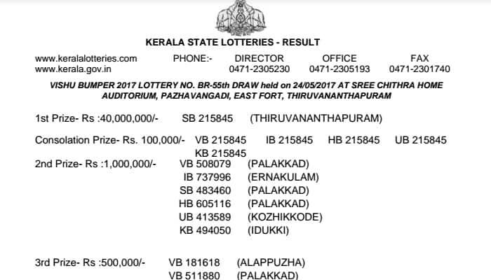 Vishu Bumper 2017: Kerala lottery result declared