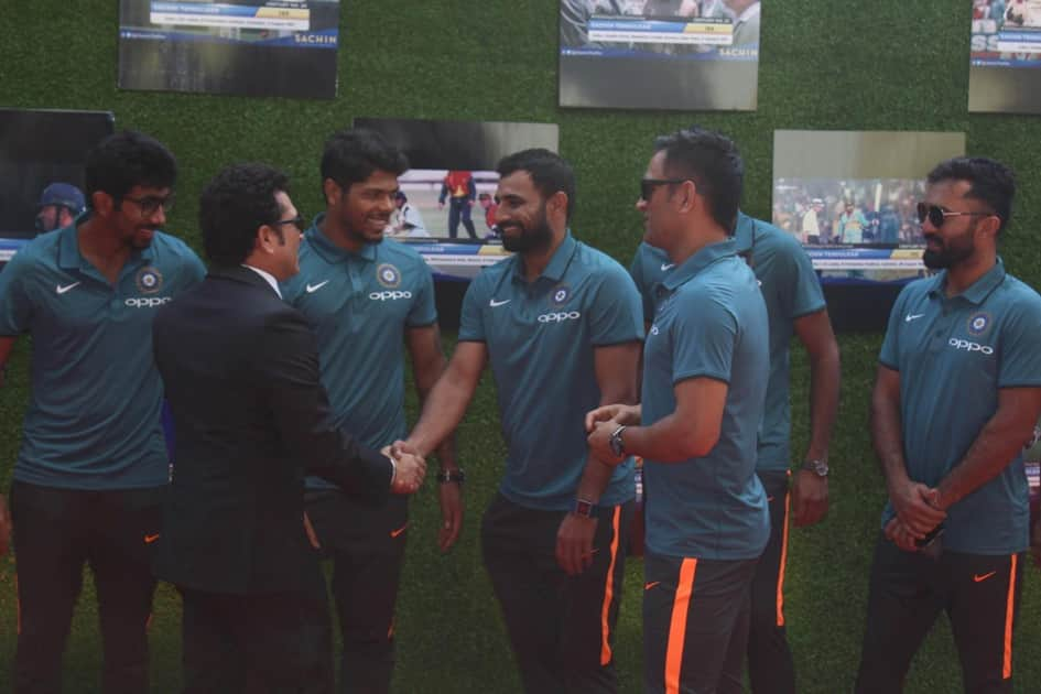 Sachin Tendulkar along with Indian cricket team during the special screening of film