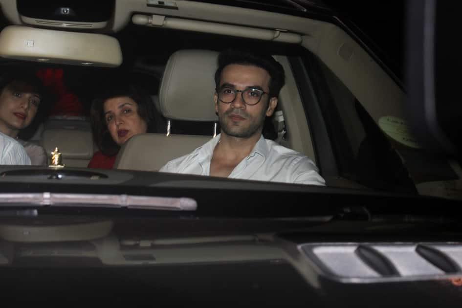 Actress Tabu with filmmakers Punit Malhotra and Farah Khan during Karan Johar`s 45th birthday party
