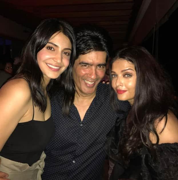 Anushka Sharma, Manish Malhotra and Aiswarya Rai Bachchan during Karan Johar`s 45th birthday party