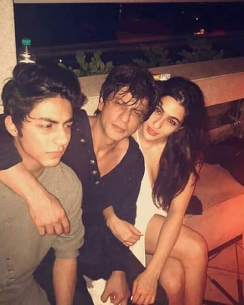 SRK, Aryan and Sara Ali Khan during Karan Johar`s 45th birthday party