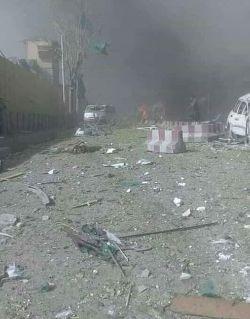 Pictures of immediate aftermath of Kabul explosion,