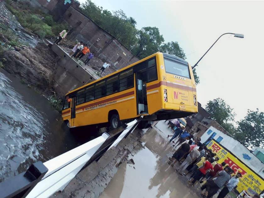 School bus falls in a nullah