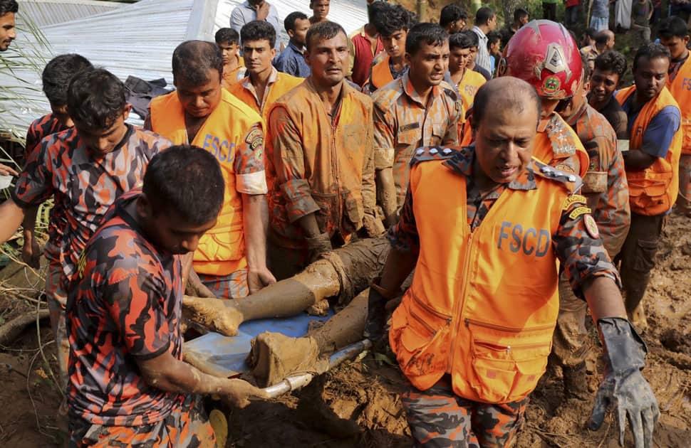 massive landslide in Rangamati district