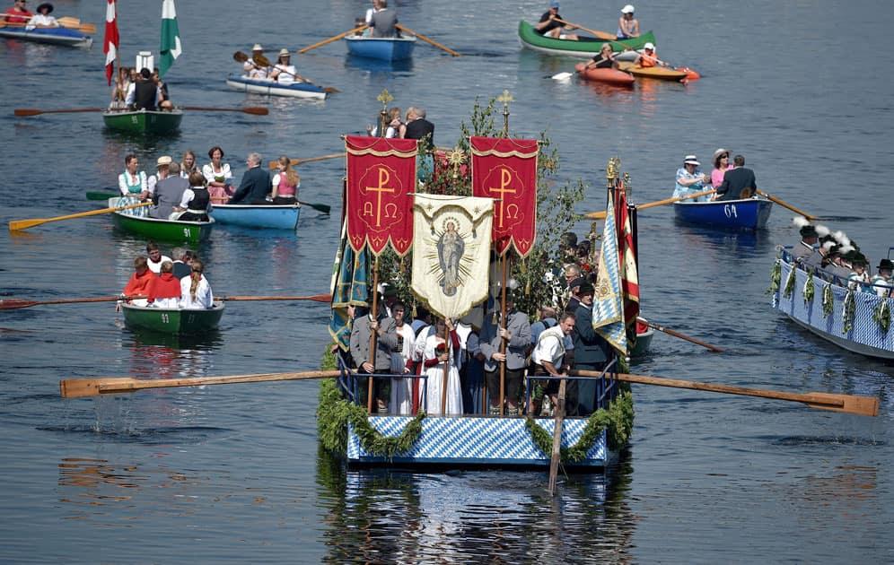 Corpus Christi procession on Staffelsee lake
