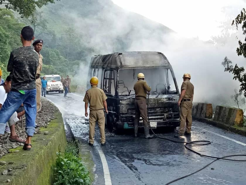 A bus torched allegedly be GJM workers