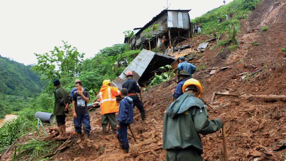 landslide at Tharia Village in Meghalaya