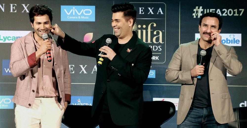 Saif Ali Khan, Varun Dhawan and Karan Johar