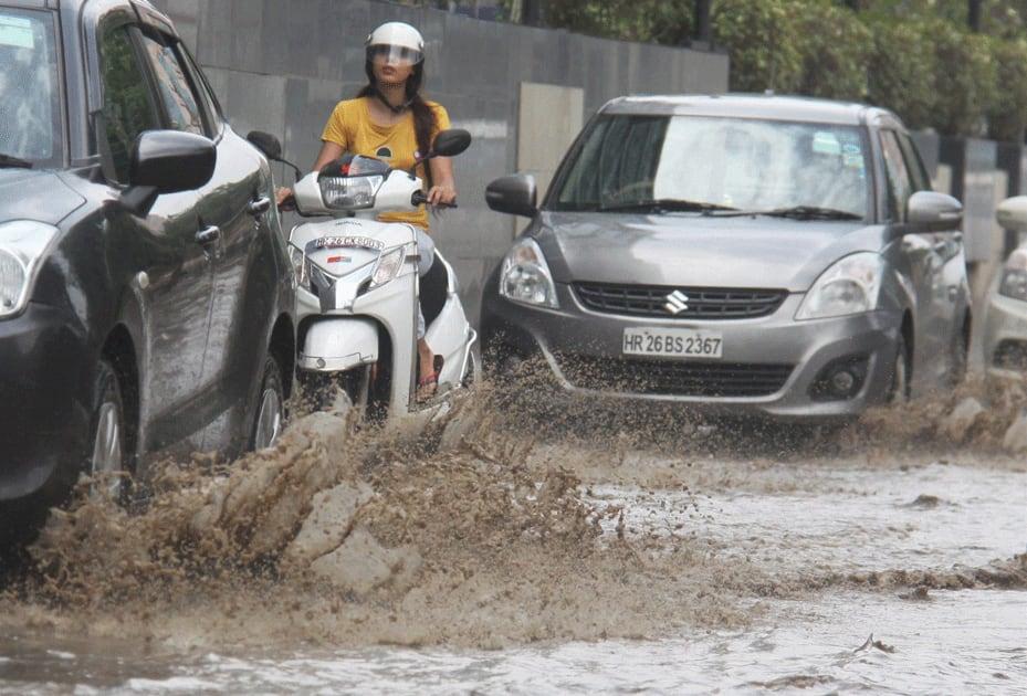 Traffic after heavy rains in Gurugram