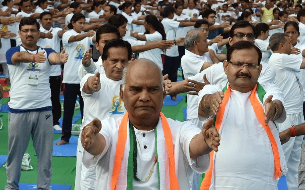 Ram Nath Kovind participates in a yoga session