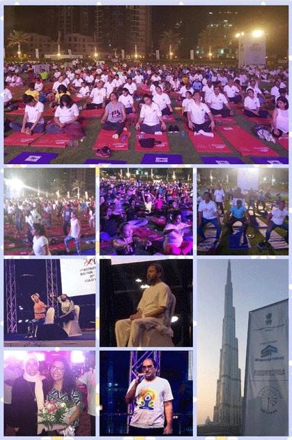 International Yoga Day celebrations held at the iconic Burj Park