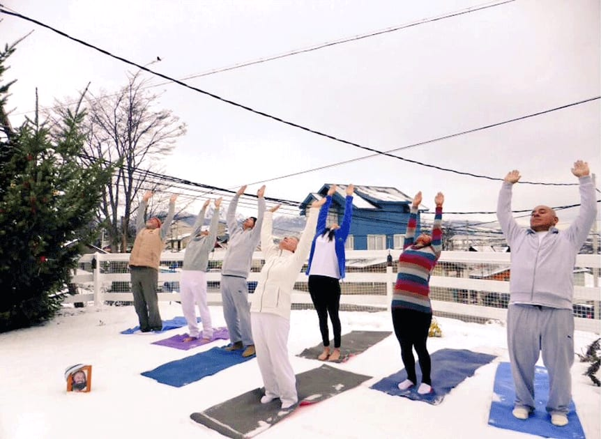participants braved temperatures of -10°C for International Yoga Day