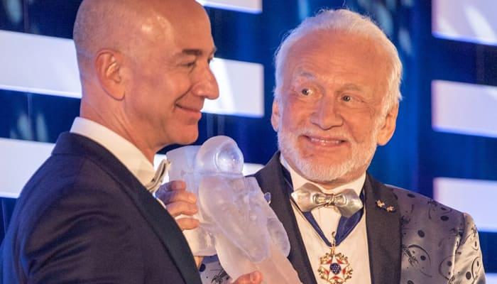 Blue Origin's Jeff Bezos receives first Buzz Aldrin Space Innovation Award from Apollo 11 moonwalker