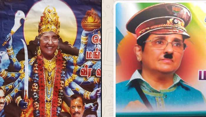 Kiran Bedi depicted as Hitler, Goddess Kali in posters allegedly put out by Congress; Puducherry CM denies link