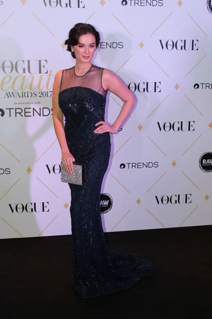 Actress Evelyn Sharma during the red carpet of Vogue Beauty Awards 2017
