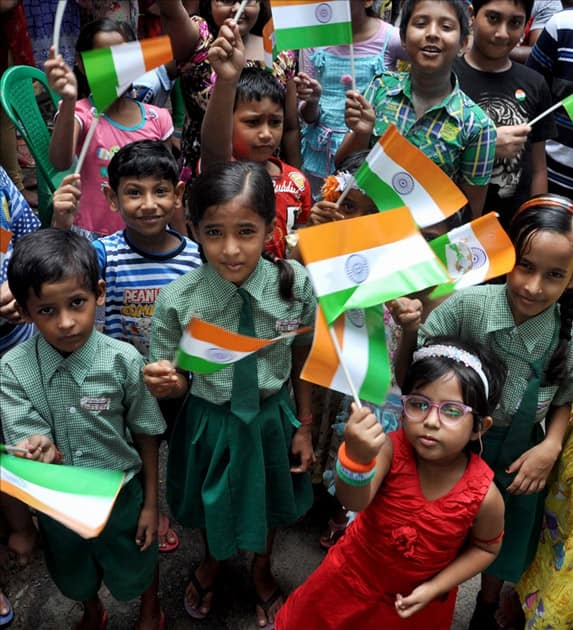 Children with the tri-colour celebrate 71st Independence Day