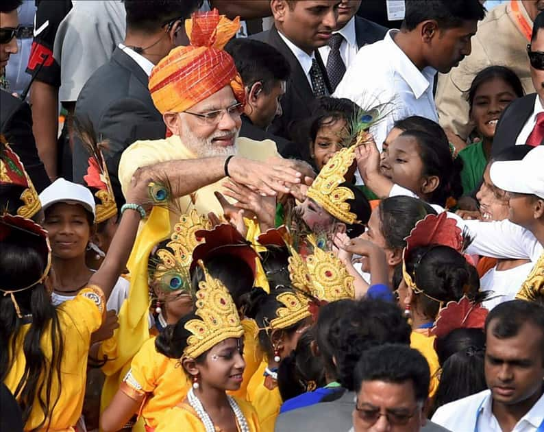 Prime Minister Narendra Modi interacts with children