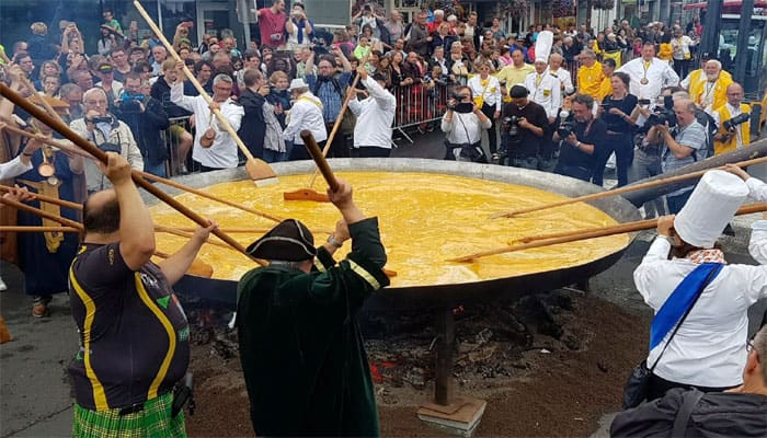 Giant omelette made with 10,000 eggs served at Belgium annual festival – Watch video