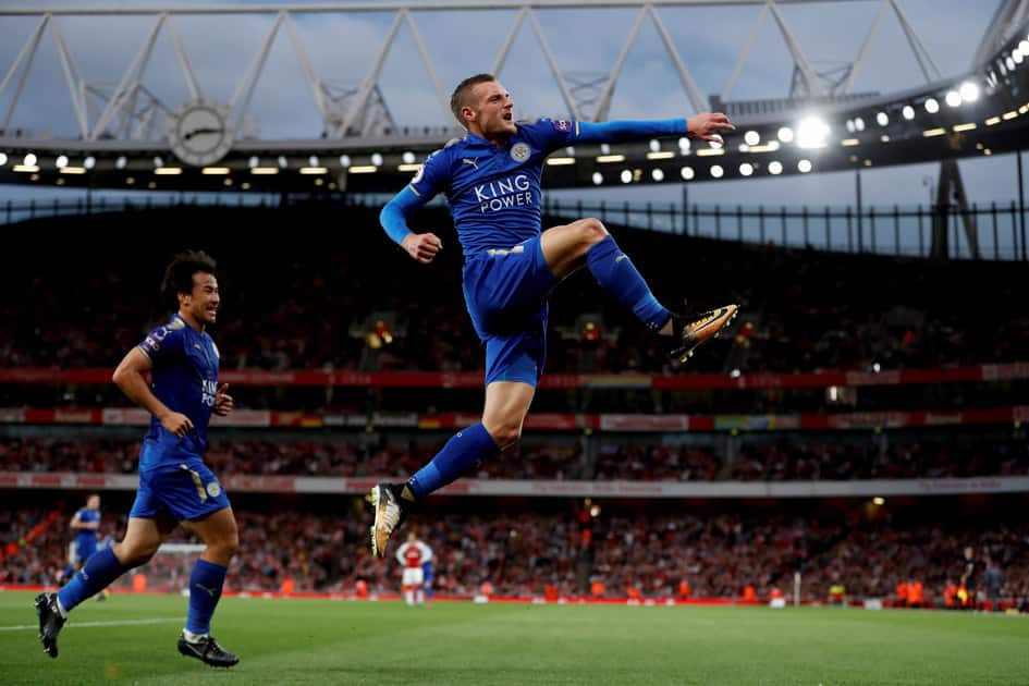 Leicester City's Jamie Vardy celebrates his goal with Shinji Okazaki behind