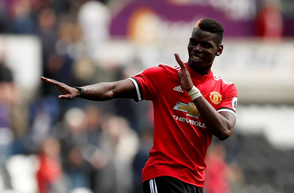 Manchester United's Paul Pogba celebrates his goal against Swansea City